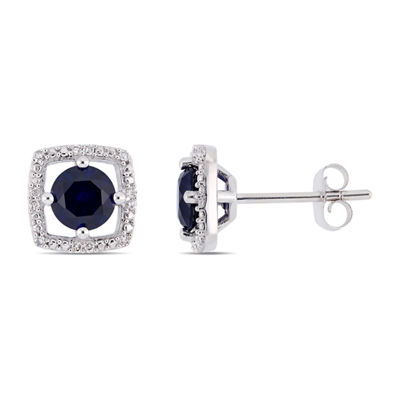 Diamond Accent Lab Created Blue Sapphire 10K White Gold Ear Pins