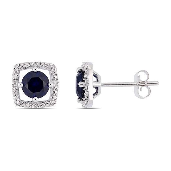 Diamond Accent Lab Created Blue Sapphire 10K White Gold Ear Pins