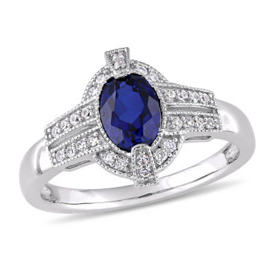 Womens Diamond Accent Lab Created Blue Sapphire 10K White Gold Cocktail Ring