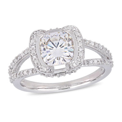Womens 1/4 CT. T.W. White Moissanite 14K White Gold Engagement Ring