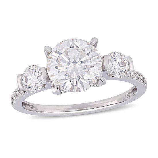 Womens 1/6 CT. T.W. White Moissanite 14K White Gold Engagement Ring