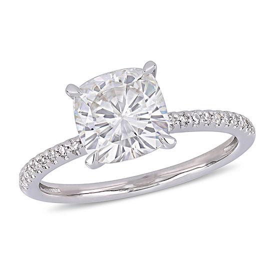 Womens 1/10 CT. T.W. White Moissanite 14K White Gold Engagement Ring