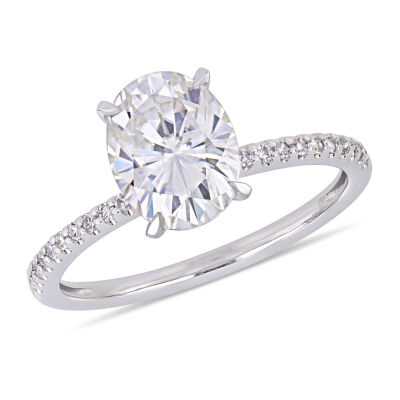 Womens 1/10 CT. T.W. White Moissanite 14K White Gold Engagement Ring