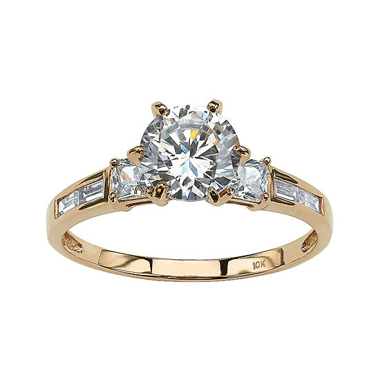 DiamonArt® Womens 2 1/5 CT. T.W. White Cubic Zirconia 10K Gold Engagement Ring