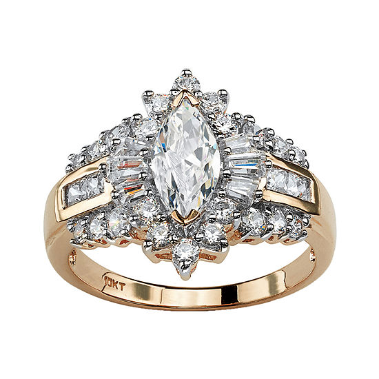 Diamonart Womens 2 1/5 CT. T.W. White Cubic Zirconia 10K Gold Engagement Ring