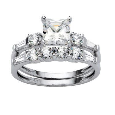 Diamonart Womens 2 1/2 CT. T.W. White Cubic Zirconia 10K White Gold Bridal Set