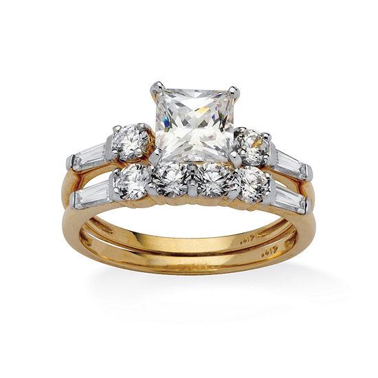 DiamonArt® Womens 2 1/2 CT. T.W. White Cubic Zirconia 10K Gold Bridal Set