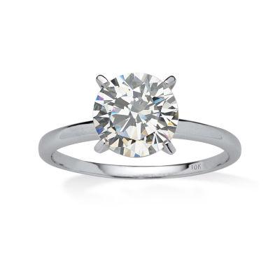 Diamonart Womens 2 CT. T.W. White Cubic Zirconia 10K White Gold Engagement Ring