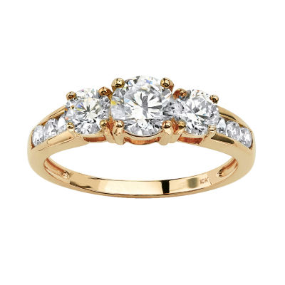 Diamonart Womens 1 7/8 CT. T.W. White Cubic Zirconia 10K Gold Engagement Ring