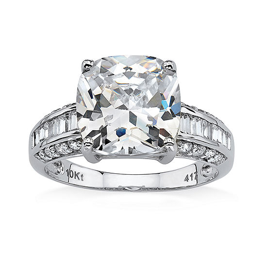 Womens 3 1/4 CT. T.W. White Cubic Zirconia 10K White Gold Engagement Ring