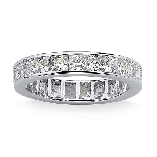 Diamonart Womens 4MM 5 1/4 CT. T.W. White Cubic Zirconia 10K White Gold Band