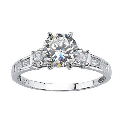 Diamonart Womens 2 1/5 CT. T.W. White Cubic Zirconia 10K White Gold Engagement Ring