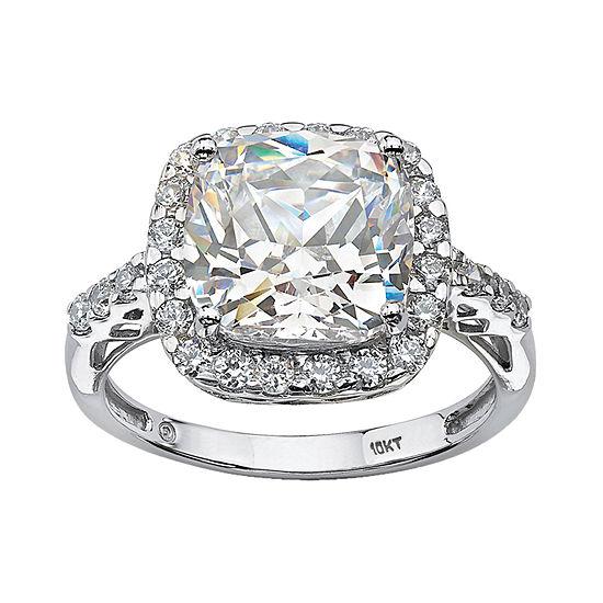 DiamonArt® Womens 3 1/4 CT. T.W. White Cubic Zirconia 10K White Gold Engagement Ring