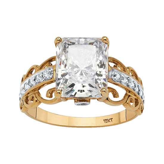 Diamonart Womens 3 1/4 CT. T.W. White Cubic Zirconia 10K Gold Engagement Ring