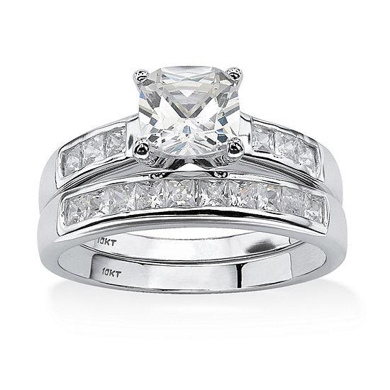 DiamonArt® Womens 2 CT. T.W. White Cubic Zirconia 10K White Gold Bridal Set