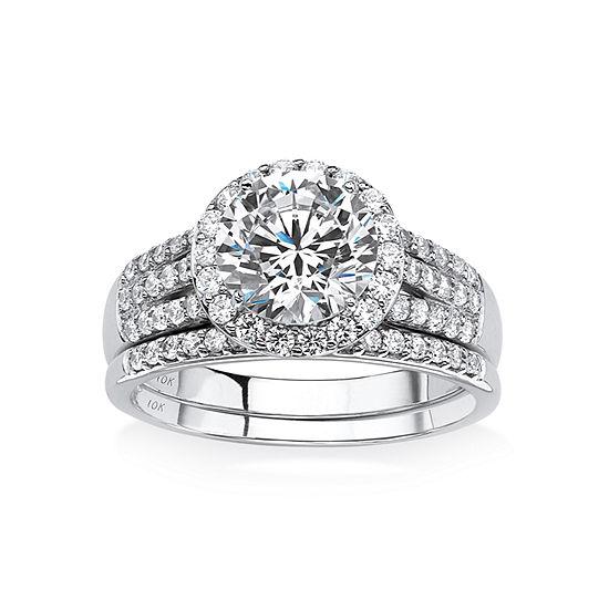 DiamonArt® Womens 2 1/2 CT. T.W. White Cubic Zirconia 10K White Gold Bridal Set