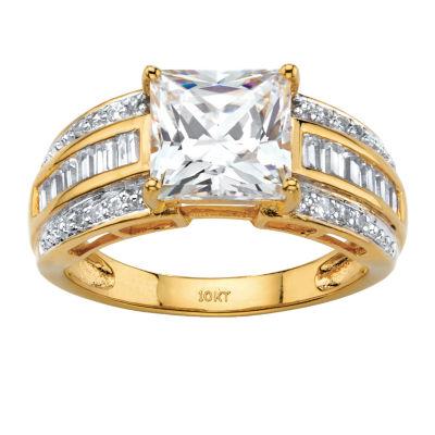 Diamonart Womens 2 3/4 CT. T.W. White Cubic Zirconia 10K Gold Engagement Ring