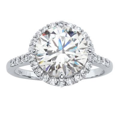 Diamonart Womens 4 1/2 CT. T.W. White Cubic Zirconia 10K White Gold Engagement Ring