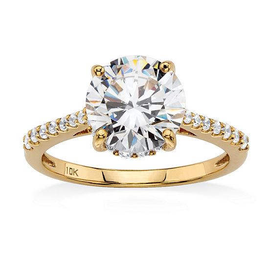 Diamonart Womens 3 1/4 CT. T.W. White Cubic Zirconia 10K Gold Engagement Ring