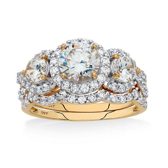Diamonart Womens 3 CT. T.W. White Cubic Zirconia 10K Gold Bridal Set