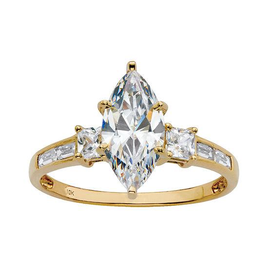 DiamonArt® Womens 2 1/2 CT. T.W. White Cubic Zirconia 10K Gold Engagement Ring