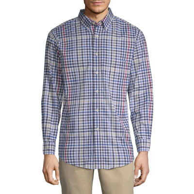 Haggar Mens Long Sleeve Plaid Button-Front Shirt Big and Tall