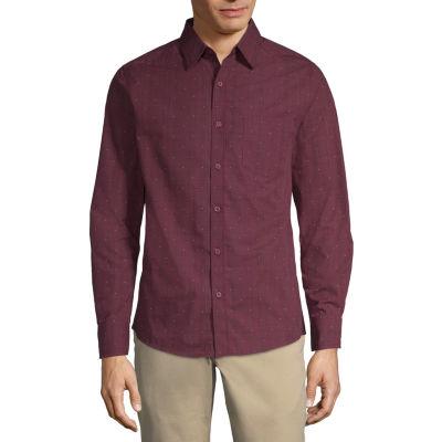 Haggar Mens Long Sleeve Button-Front Shirt Big and Tall