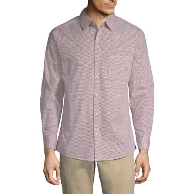 Haggar Mens Long Sleeve Button-Front Shirt