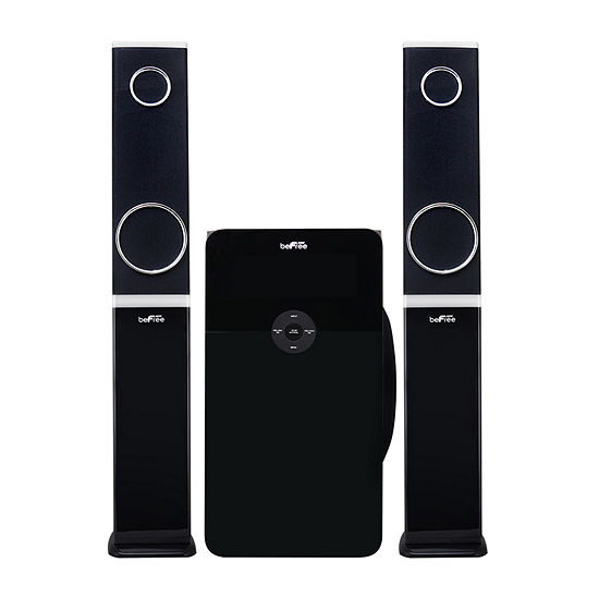 beFree Sound 2.1 Channel Multimedia Wired Speaker Shelf System with SD and USB Input