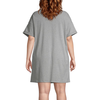 Ambrielle Knit Long Sleeve Key Hole Neck Nightshirt Womens-Plus