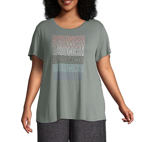 Ambrielle Womens-Plus Pajama Top
