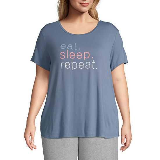 Ambrielle Womens-Plus Pajama Top