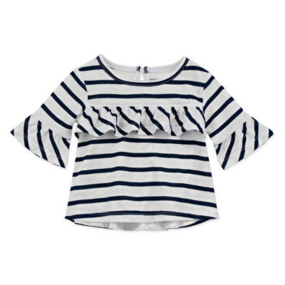 Peyton & Parker Happy Stripe Girls Round Neck 3/4 Sleeve T-Shirt-Baby