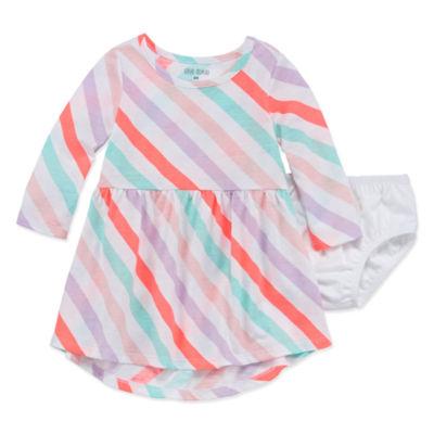Okie Dokie Long Sleeve A-Line Dress - Baby Girls