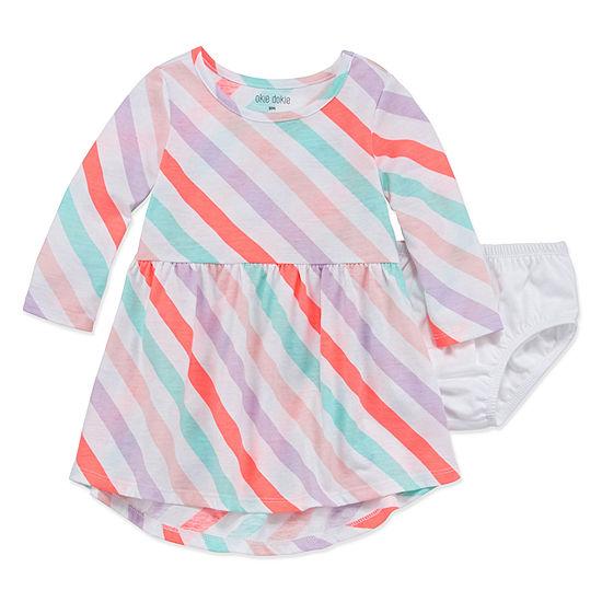 Okie Dokie Girls Long Sleeve A-Line Dress - Baby