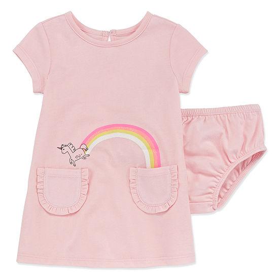 Okie Dokie Girls Short Sleeve Cap Sleeve A-Line Dress - Baby