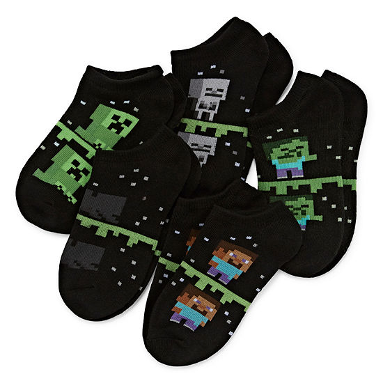 Minecraft Boys 5 Pair No Show Socks-Big Kid