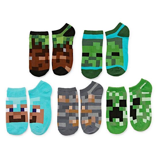 Minecraft Big Boys 5 Pair No Show Socks