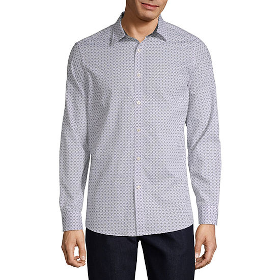 Axist Mens Long Sleeve Geometric Button-Front Shirt