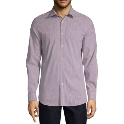 Axist Mens Long Sleeve Paisley Button-Front Shirt