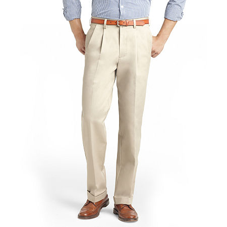Men's Vintage Pants, Trousers, Jeans, Overalls IZOD American Chino Classic Fit Pleated Pant 34 34 Beige $22.49 AT vintagedancer.com