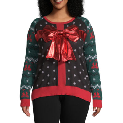 City Streets Long Sleeve Crew Neck Holiday Pullover Sweater-Juniors Plus