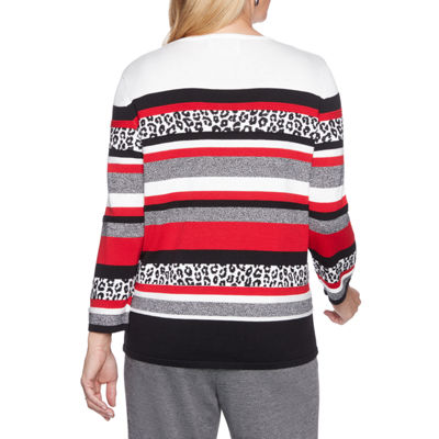Alfred Dunner Sutton Place Womens Crew Neck 3/4 Sleeve Stripe Pullover Sweater-Petite