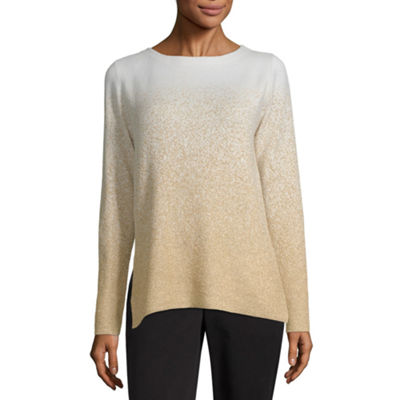 Liz Claiborne Womens Boat Neck Long Sleeve Ombre Pullover Sweater