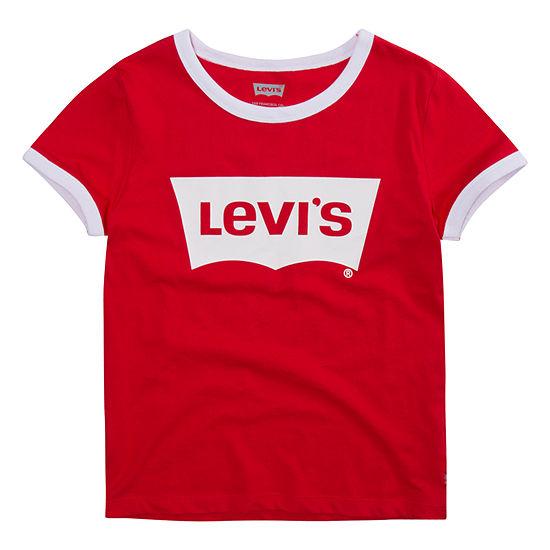 Levi's Retro Ringer Tee Girls Round Neck Short Sleeve T-Shirt-Big Kid