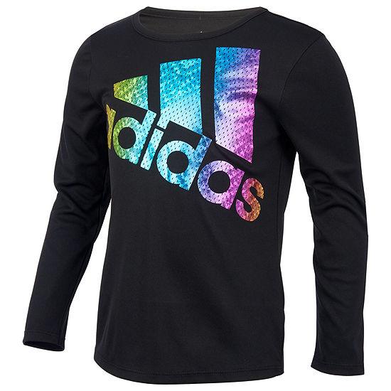 adidas Girls Crew Neck Long Sleeve Graphic T-Shirt Preschool