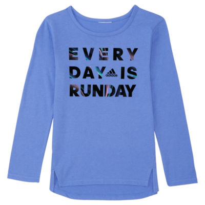 adidas Girls Crew Neck Long Sleeve Graphic T-Shirt-Preschool