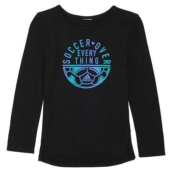 adidas Girls Crew Neck Long Sleeve Graphic T-Shirt - Preschool