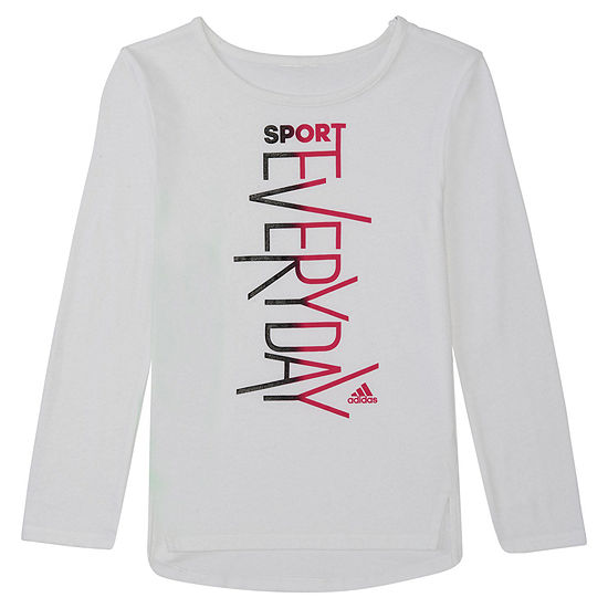 adidas - Little Kid Girls Crew Neck Long Sleeve Graphic T-Shirt