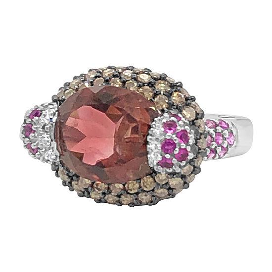 Le Vian Grand Sample Sale™ Ring featuring Passion Fruit Tourmaline™ Bubble Gum Pink Sapphire™ Chocolate Diamonds® set in 14K Vanilla Gold®